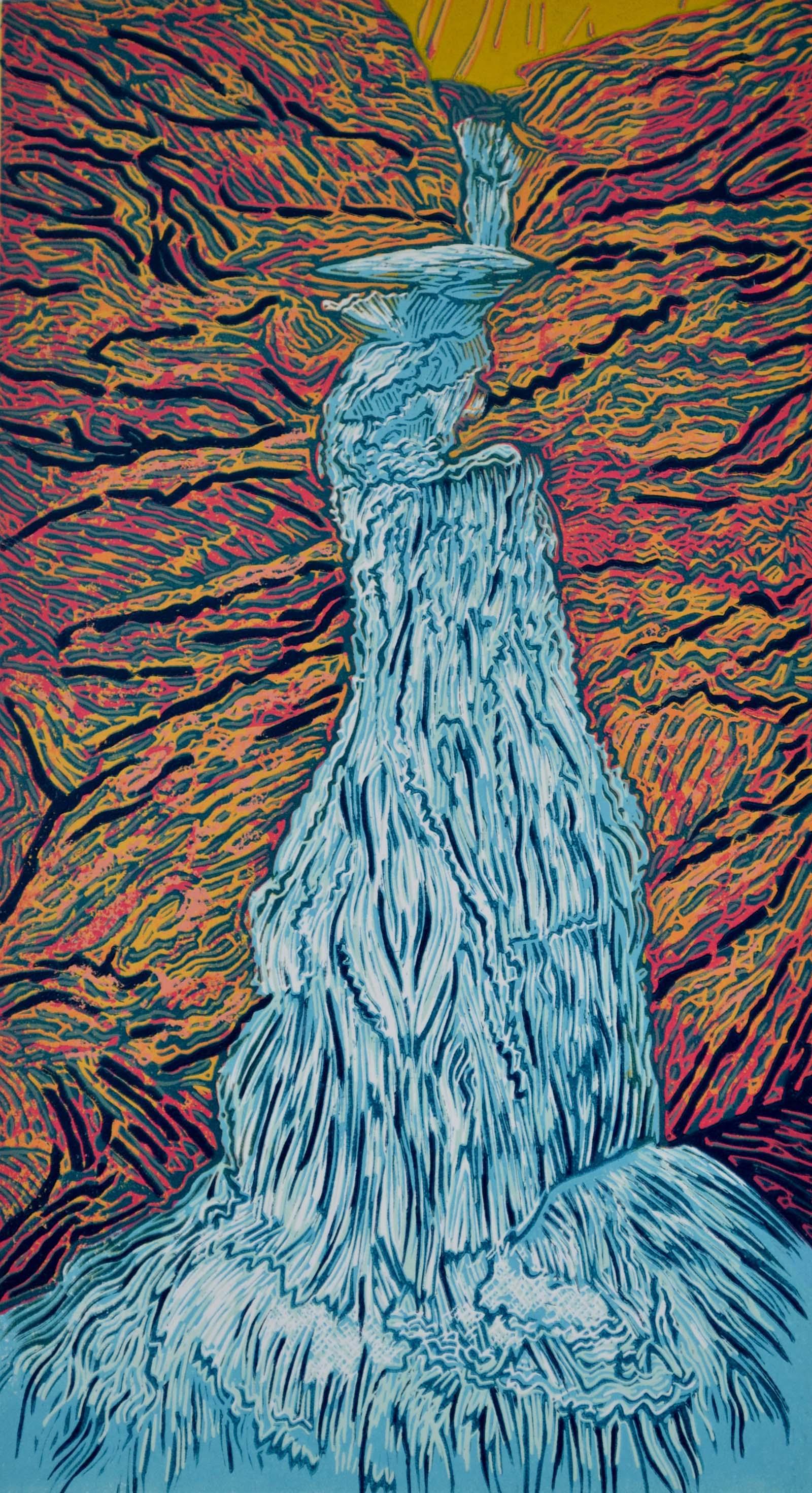 Sabbaday Falls 2 , Lino Print, 35 x 19 cm