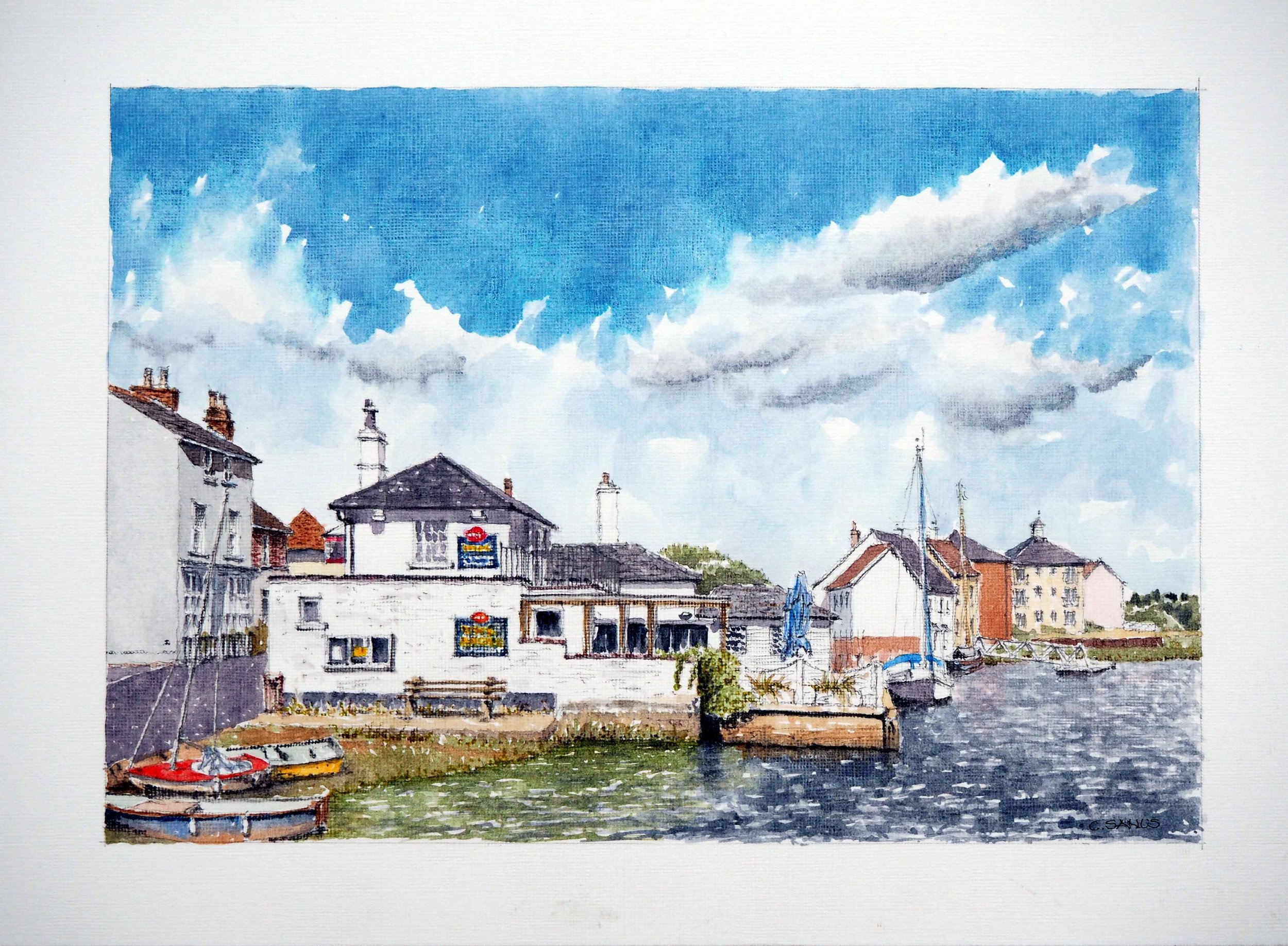 Rowhedge Quay , Acrylic, 22 x 32 cm
