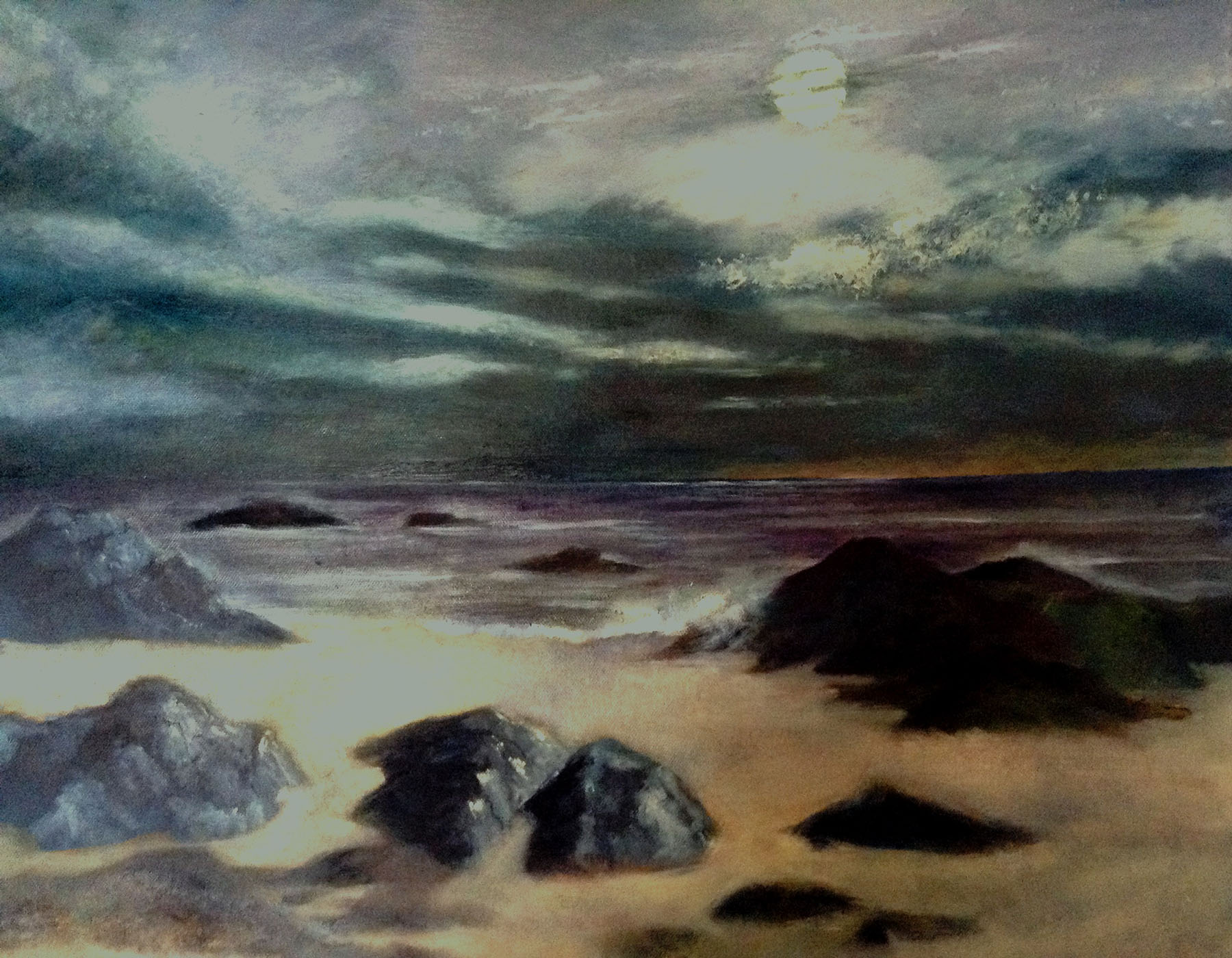 Moonlit Beach , Oils, 62 x 52 cm