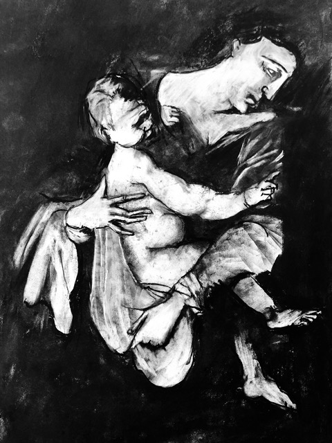 Armistice Day, Mother and Child, After Caravagio , Charcoal on paper, 50 x 50 cm