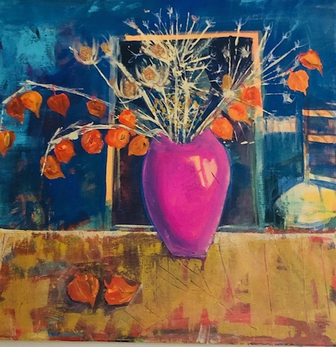 Pink Vase , Acrylic on canvas, 50 x 50 cm