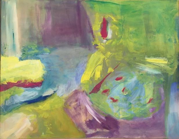 Dans le Jardin , Acrylic on Canvas, 90 x 70 cm