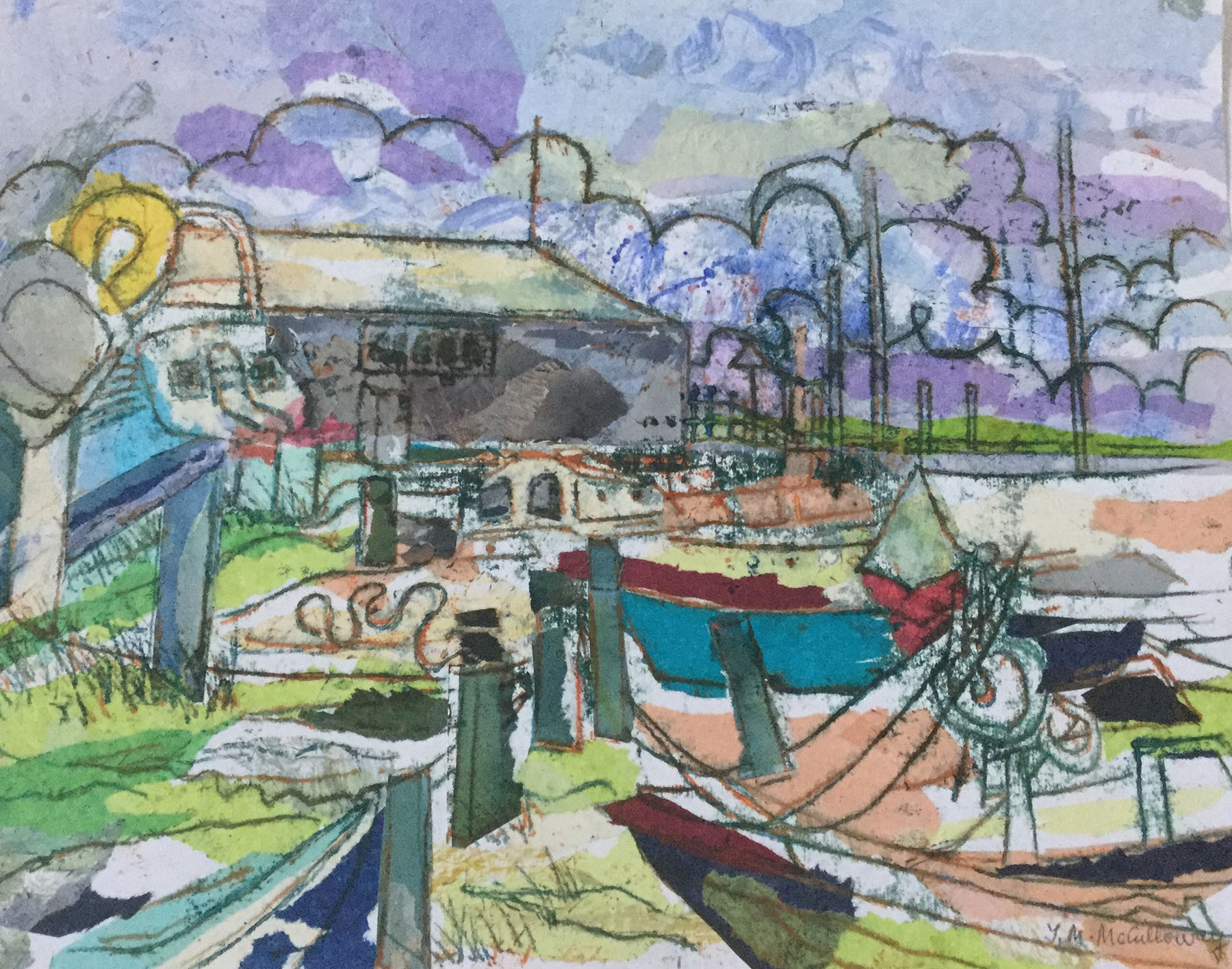 Boats at Mersea , Monoprint and collage, 42 x 33 cm