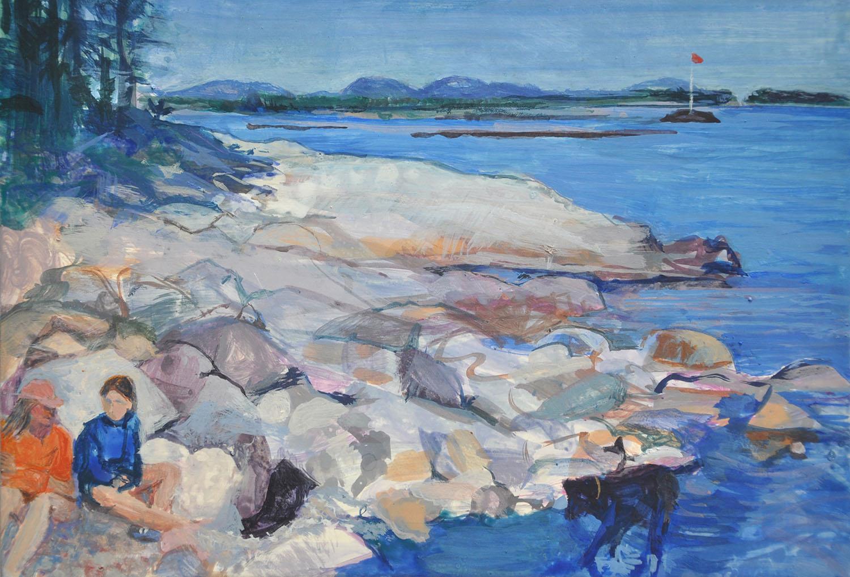 Walking Round Island II,  Egg tempera on panel, 23 x 17 cm