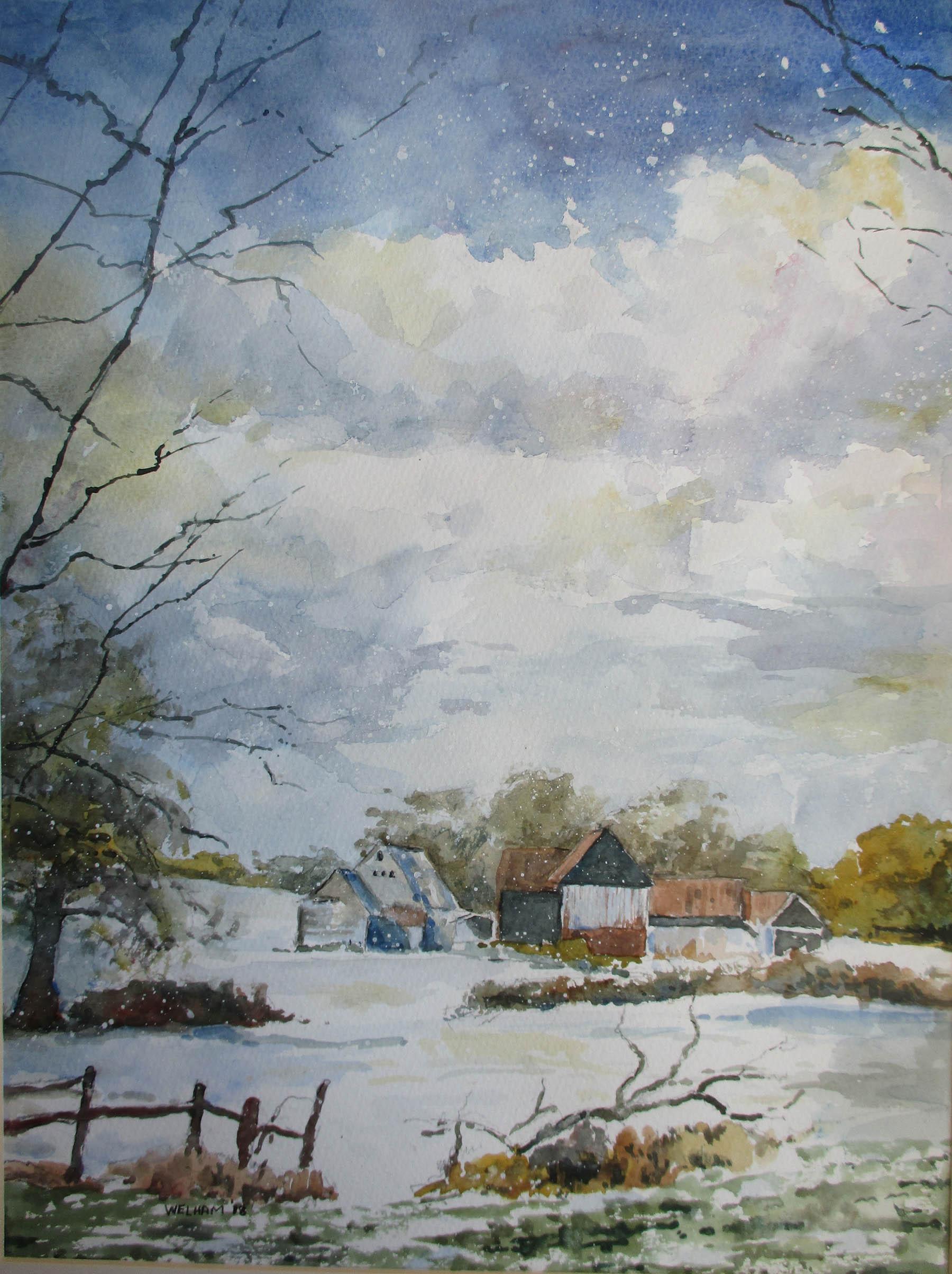 Near Hill House Wood, Snow Falls,  Watercolour, 40 x 30 cm