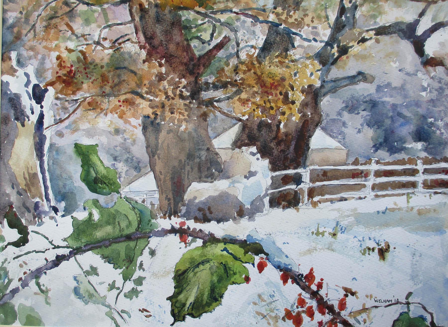 Near Hill House Wood, Snow Settles , Watercolour, 40 x 30 cm