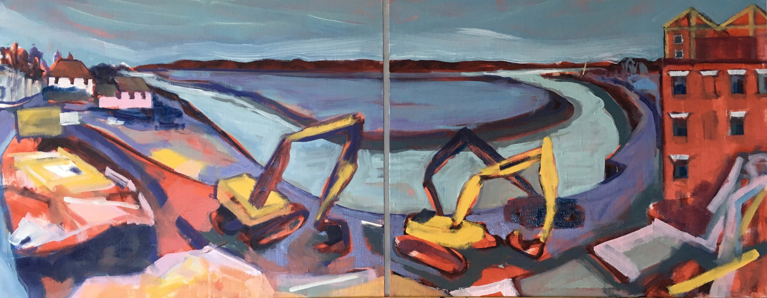 Mistley Quay Demolition Low Tide , Oil on board, 40 x 100 cm