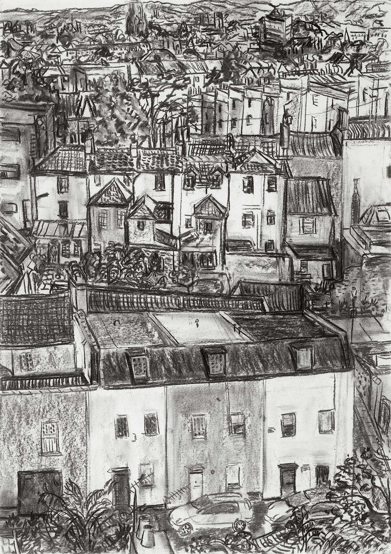 Looking across Bristol towards the Wills University Tower from The Downs , Charcoal on paper, 59 x 42 cm