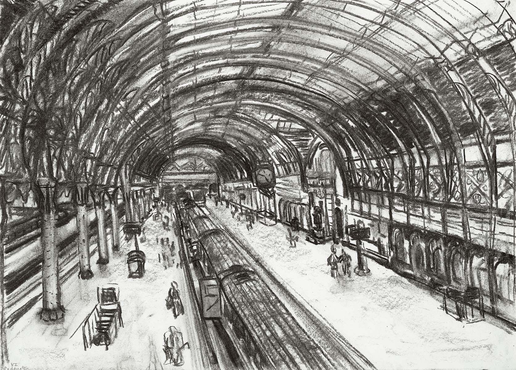 Paddington Station , Charcoal on paper, 29 x 41 cm