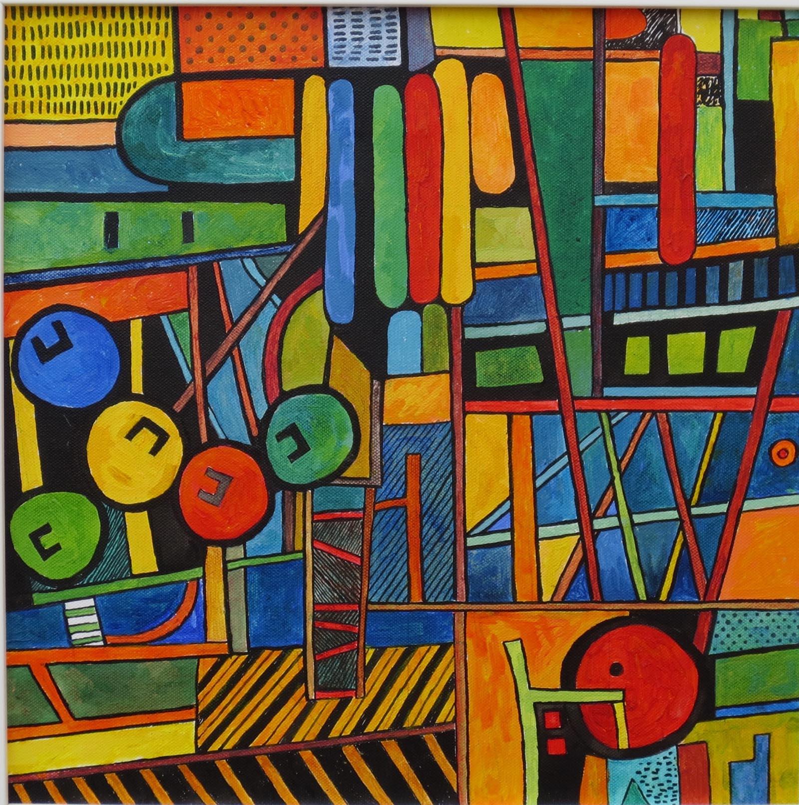 Harbour Rhythms 1 , Acrylic, 40 x 40 cm