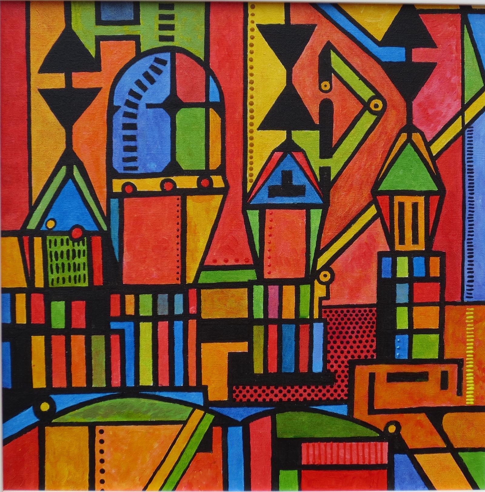 Harbour Rhythms 3 , Acrylic, 40 x 40 cm
