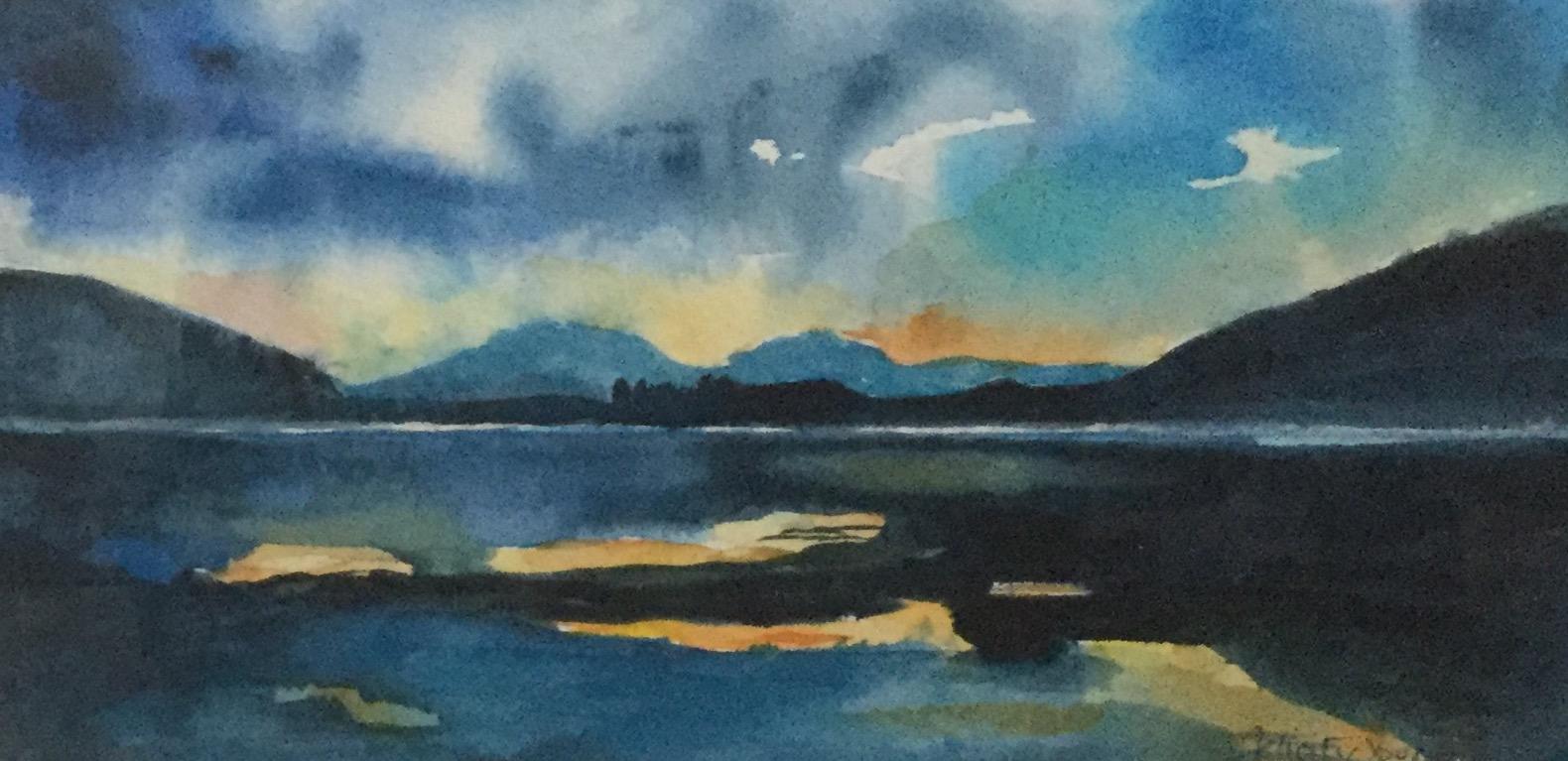Evening Reflections , Hebrides, Watercolour, 14 x 27 cm