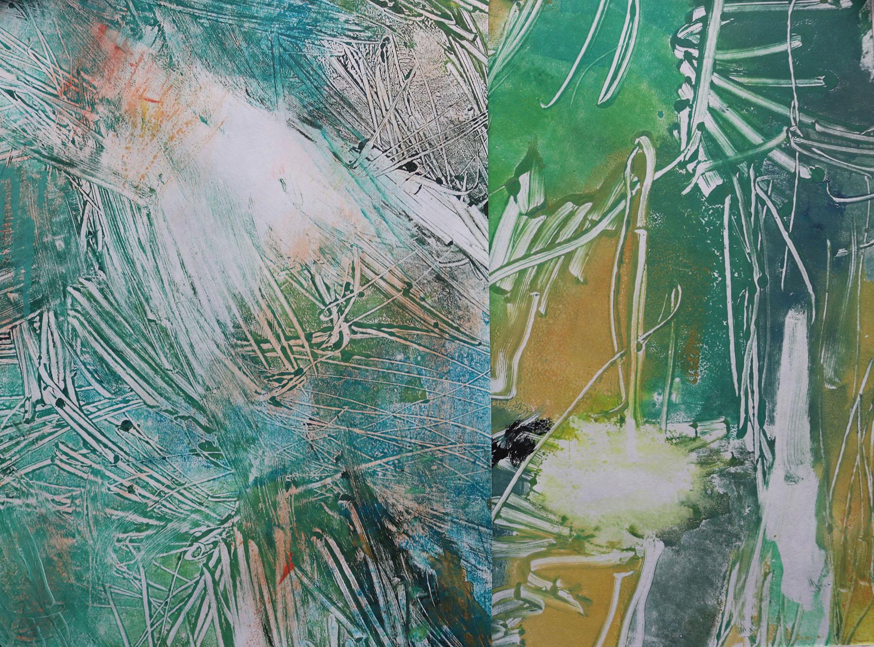 Grasses , Monoprint and collage, 24 x 29 cm