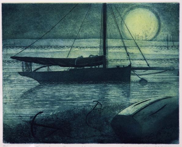 Smack in Besom Fleet , Etching, 29.5 x 36 cm