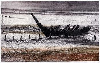 The 'Rosetta' on Packing Marsh Island,  Etching, 29 x 46.5 cm