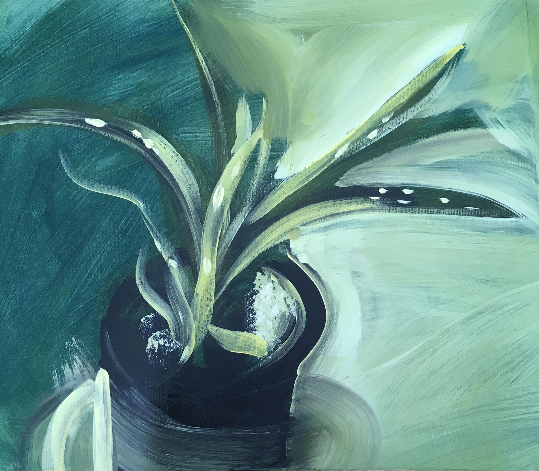 Plant , Acrylic on paper, 30 x 42 cm