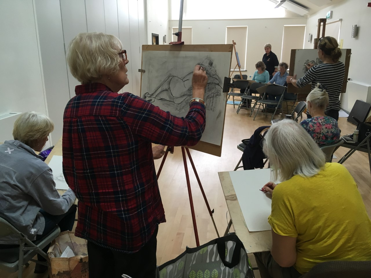 Layer Life Drawing, Photograph of group working, January 2019