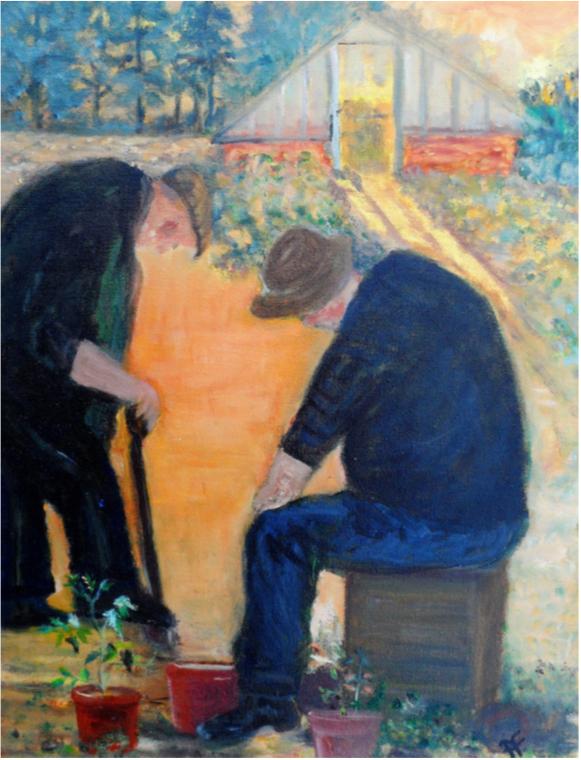 The Gardeners , Acrylic, 45 x 35 cm