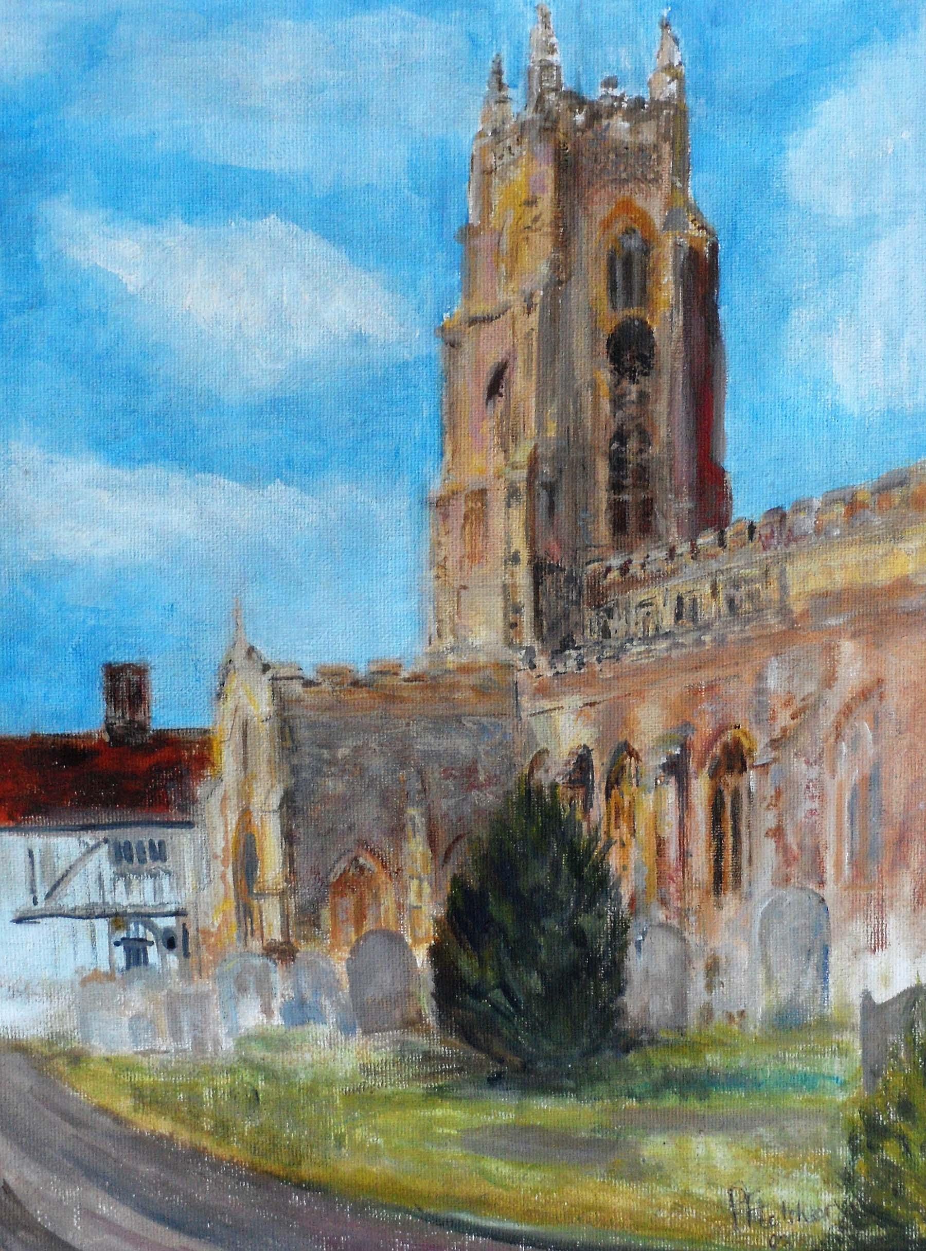 Stoke by Nayland Church , Acrylic, 43 x 34 cm