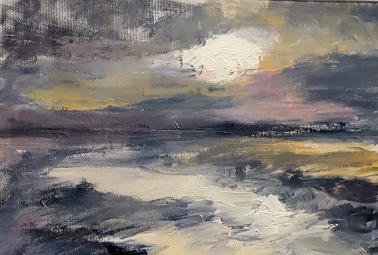 Dawn on the Colne , Oil on paper, 31 x 20 cm