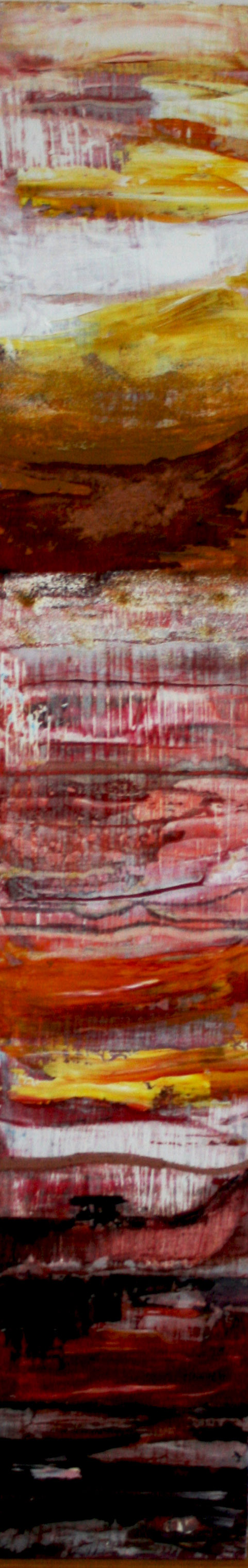 Metamorphic Red , Oil on board, 16 x 90 cm