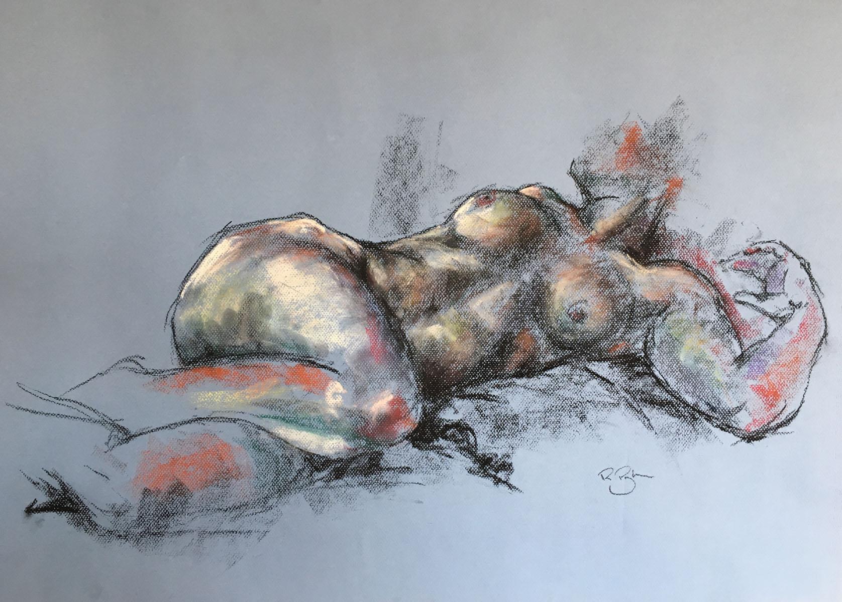 Tatiana Reclining , Pastel, 70 x 42 cm