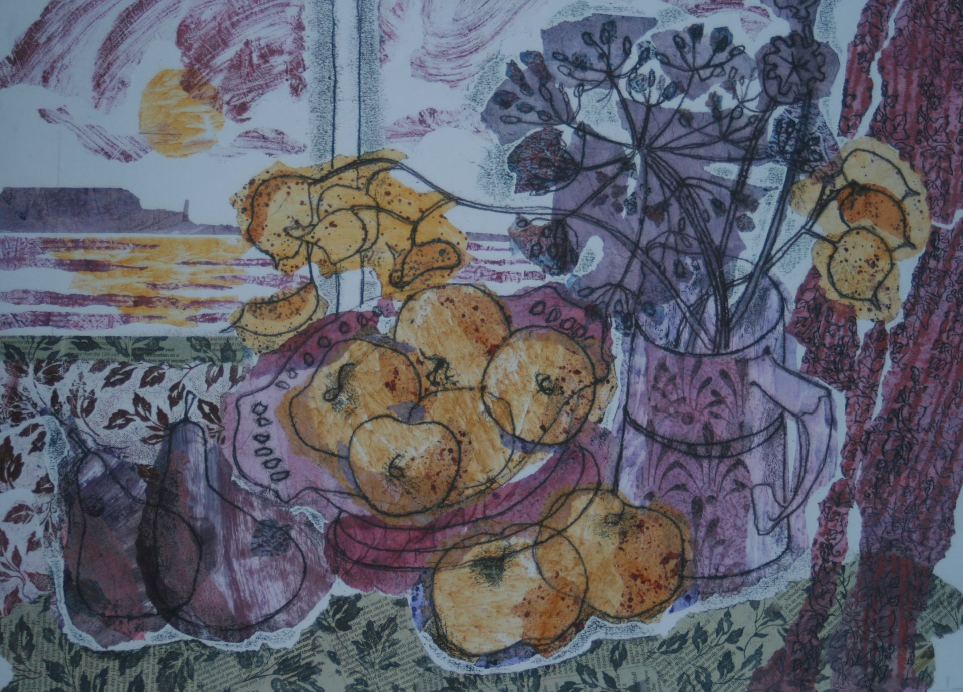 Still Life with Sea View , Monoprint collage, 60 x 49 cm