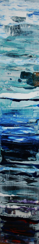 Metamorphic Blue,  Oil on board, 16 x 90 cm