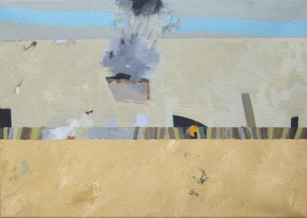 Fire on the Beach , Oil on canvas, 51 x 35 cm