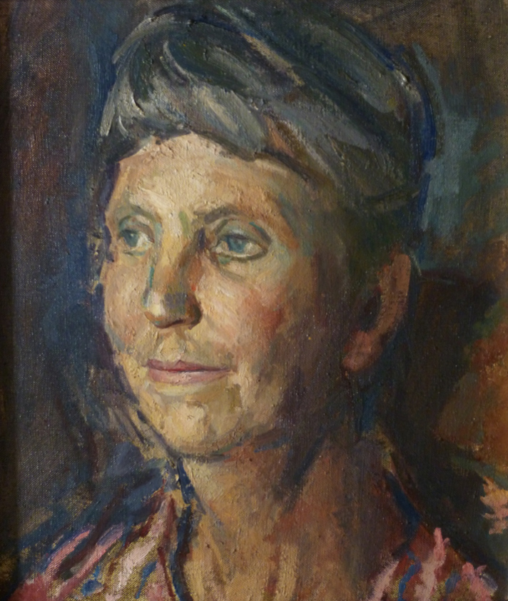 Peter Coker RA (1926-2004)  Portrait of Marion Benham, Oil on canvas, 14 x 12 in  [CAS 71] Donated by Joan Atkinson