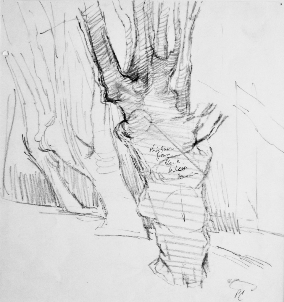 Peter Coker RA (1926-2004)  Pencil study for Epping Forest, 11.5 x 11 in  [CAS 72]