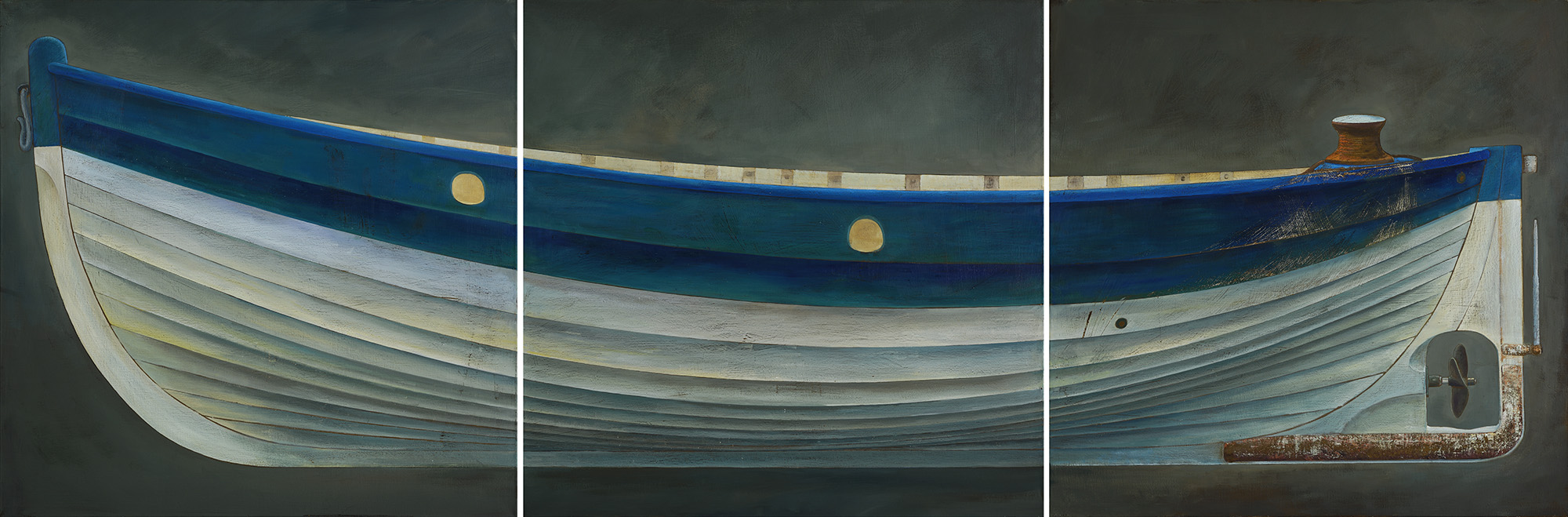 James Dodds  Norfolk Beach Boat, Triptych, Oil on canvas, 38 x 116 in  [CAS 73]