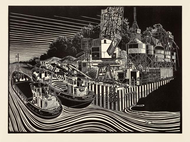 James Dodds  J.J. Prior. Sand Barges, Fingringhoe, Linocut, 20 x 27 in  [CAS 74]