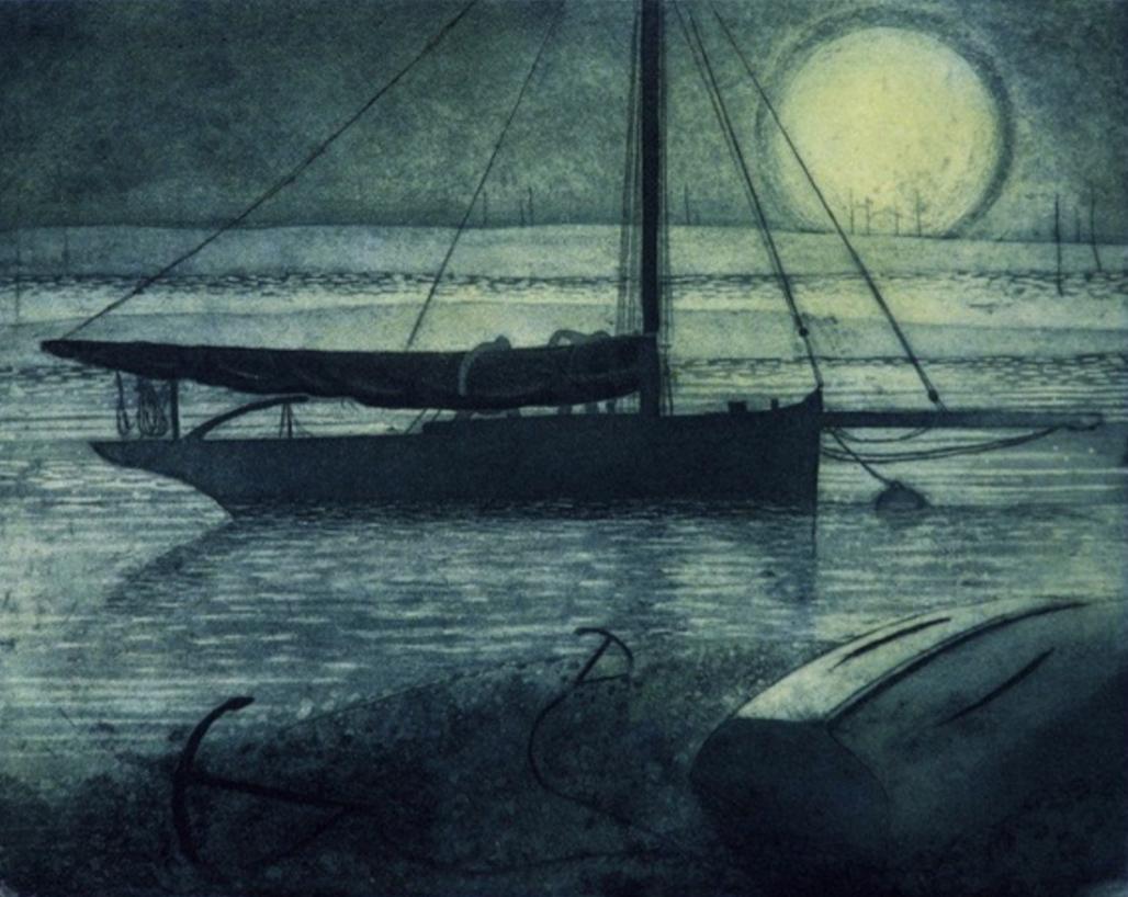 Elizabeth Morris  Smack in Besom Creek, Etching, 29.5 x 36 cm  [CAS 79]