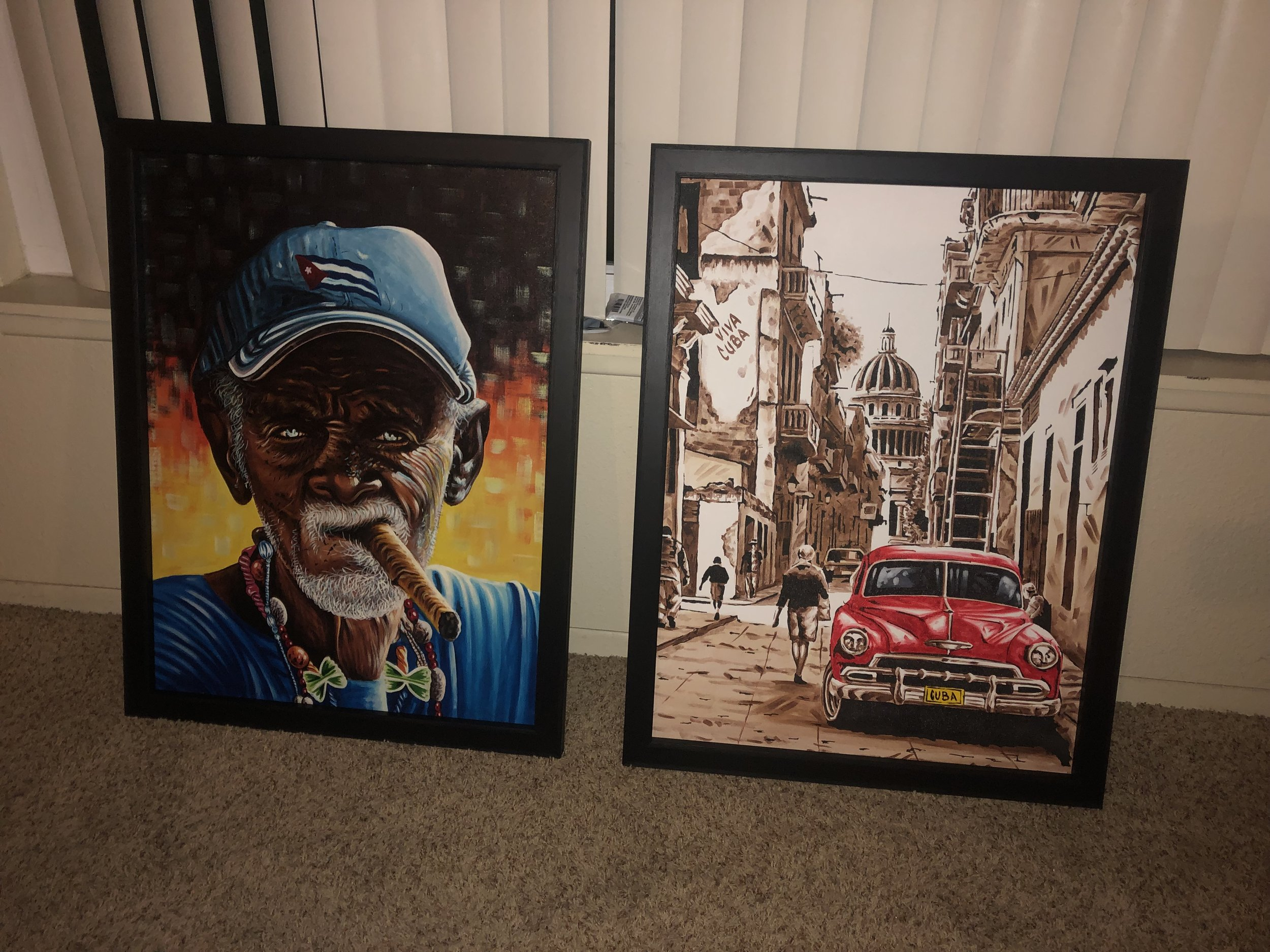 A couple paintings we bought at the market and had framed.