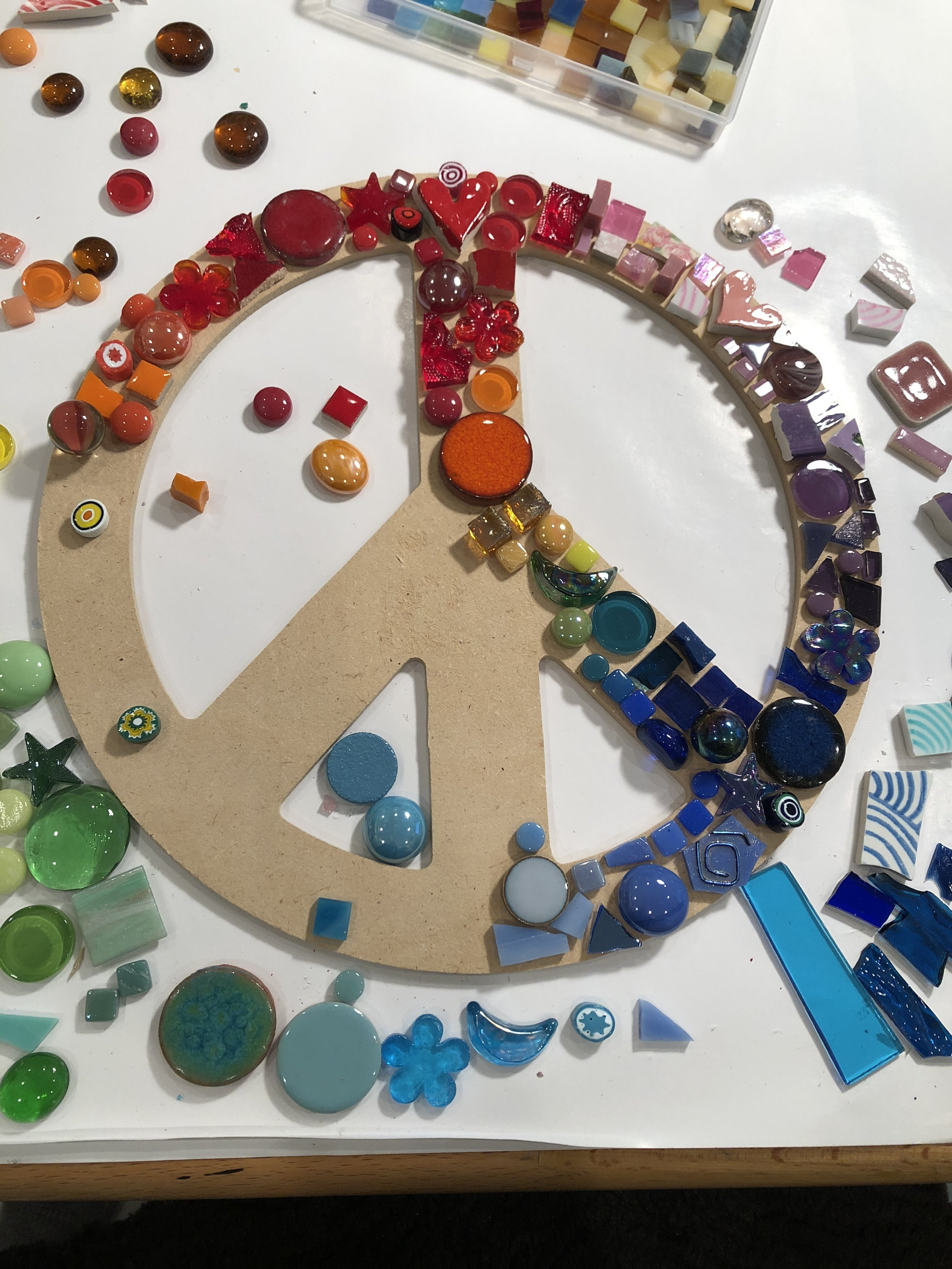 peace sign by color with fun, found objects