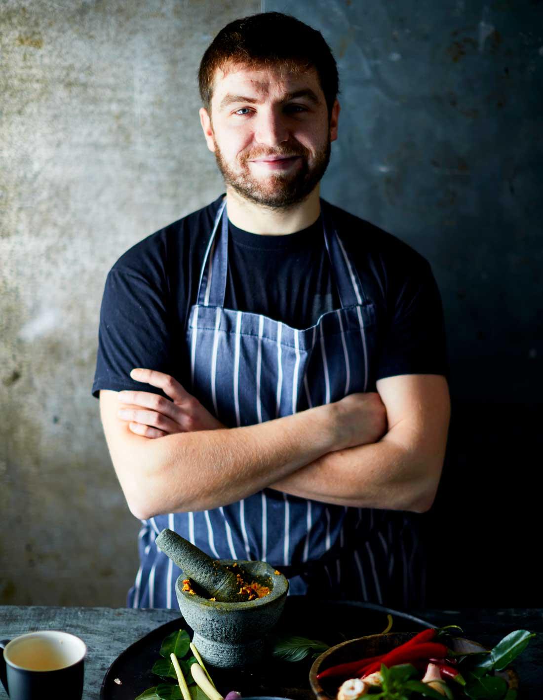 Portrait of Sebby Holmes – Head chef of Farang Thai Restaurant in Highgate, London
