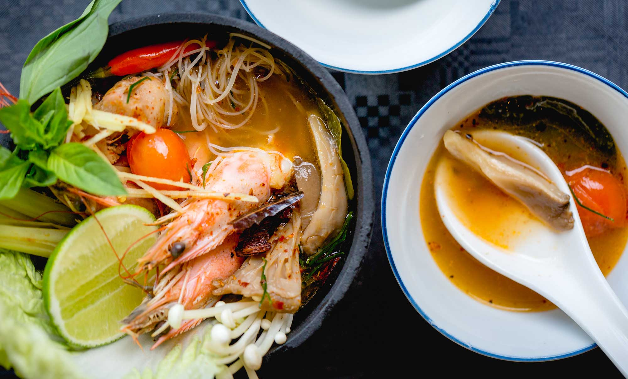 Sour Chilli Seafood Noodle Soup with Cornish Langoustines