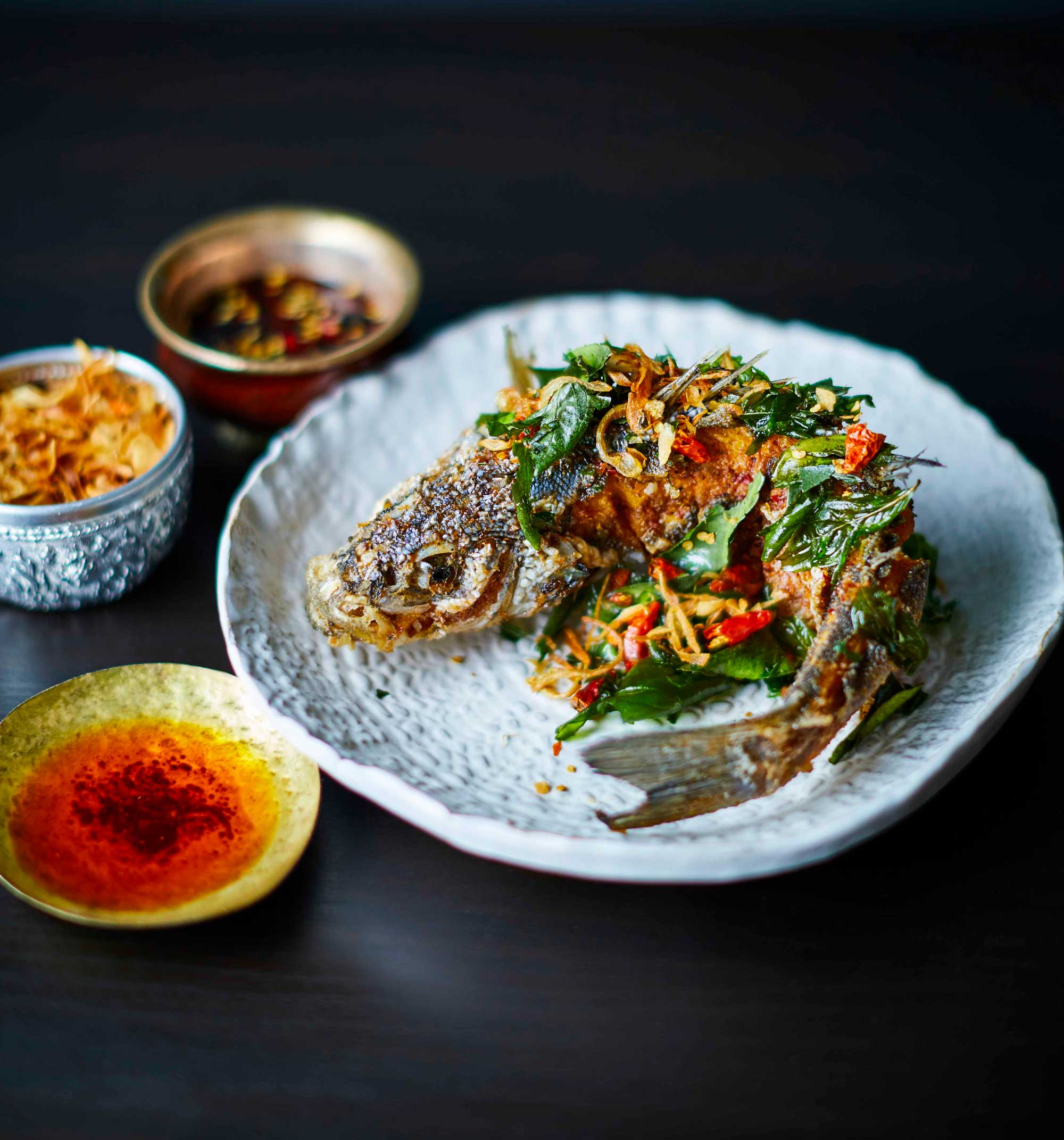 Crispy Seabass with Sour Fruits & Nham Jim