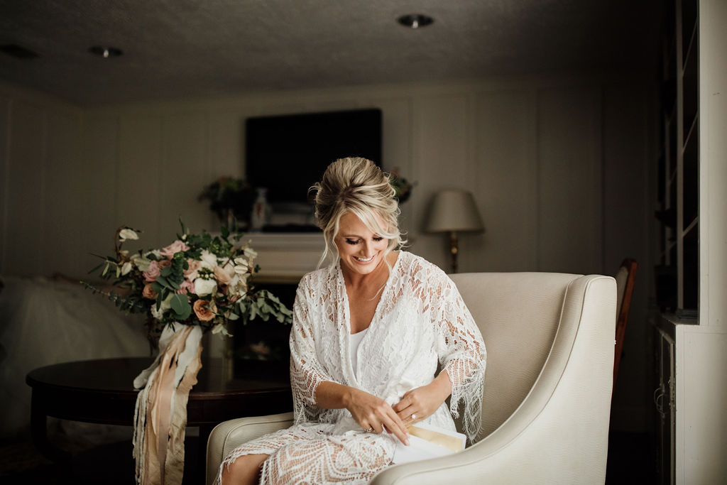 """Love Letters… - Emily was all smiles as she opened her letter from Jeff before they said """"I do""""!"""