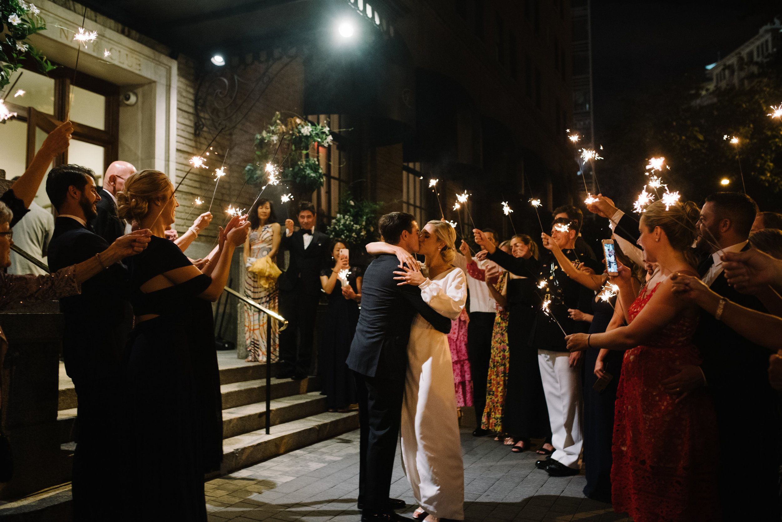 Sparks fly - How perfect is this sparkler exit? After dancing all night, Erica and Scott were sent off in style by their friends and family is this beautiful sendoff!