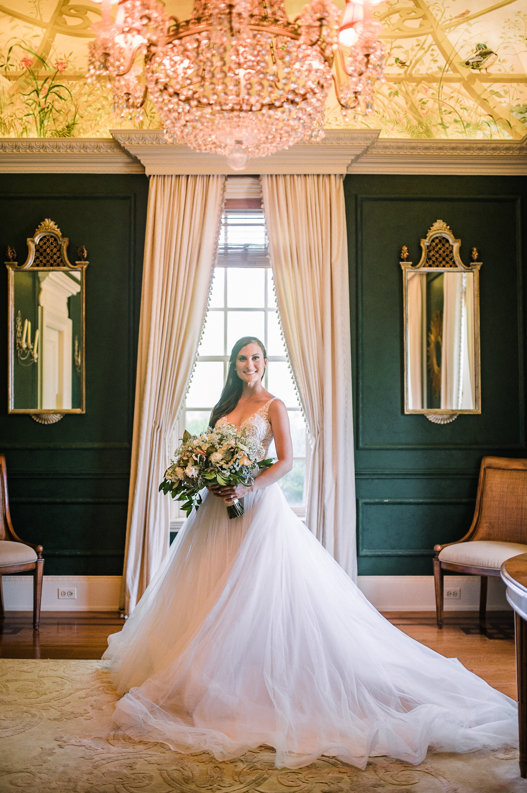 "Perfect ""posy"" for the camera… - Sarah's dress was fit for a princess and she was truly stunning as she posy'd for her bridal portraits around the mansion!"
