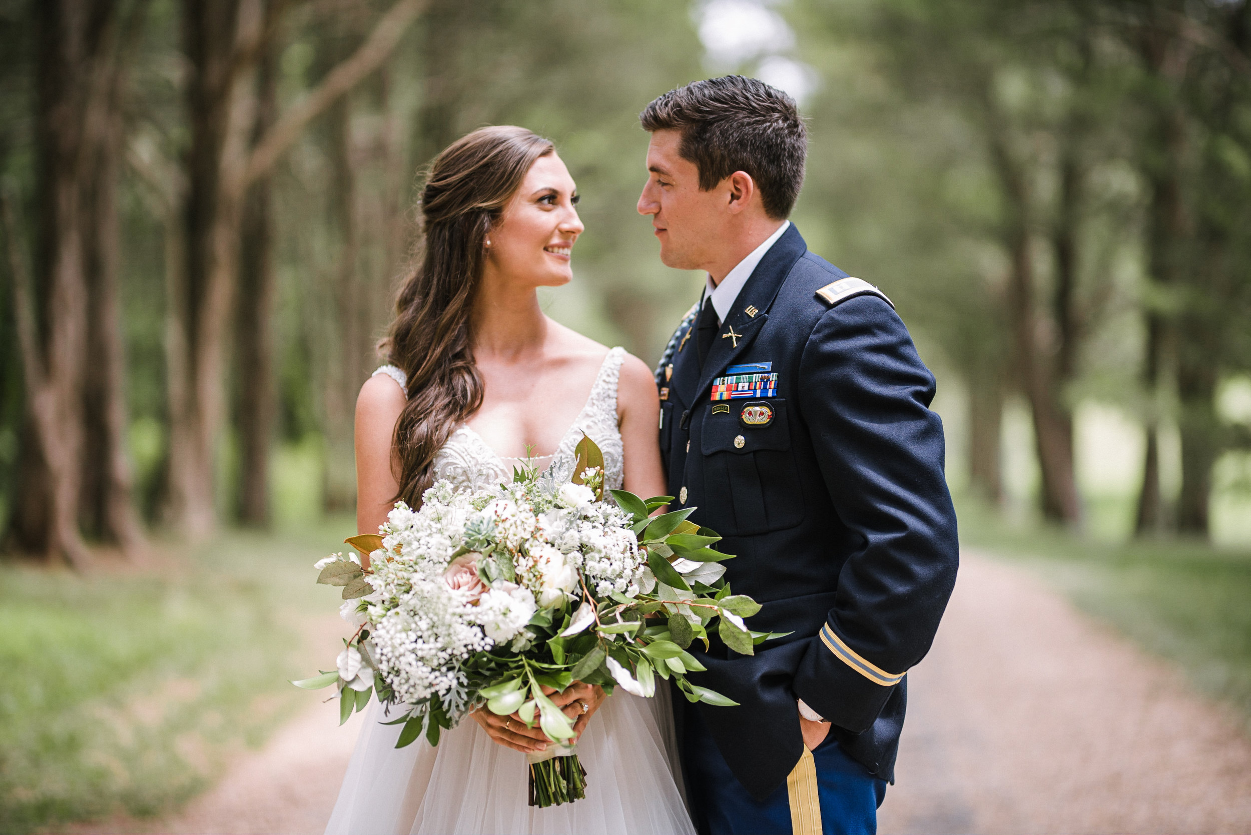 Dreamy setting… - It's always so special when a groom wears his uniform for his wedding day! The blues of the uniform mix perfectly with the dusty blues of the bridesmaids dresses and gives us all the moody romantic feels!
