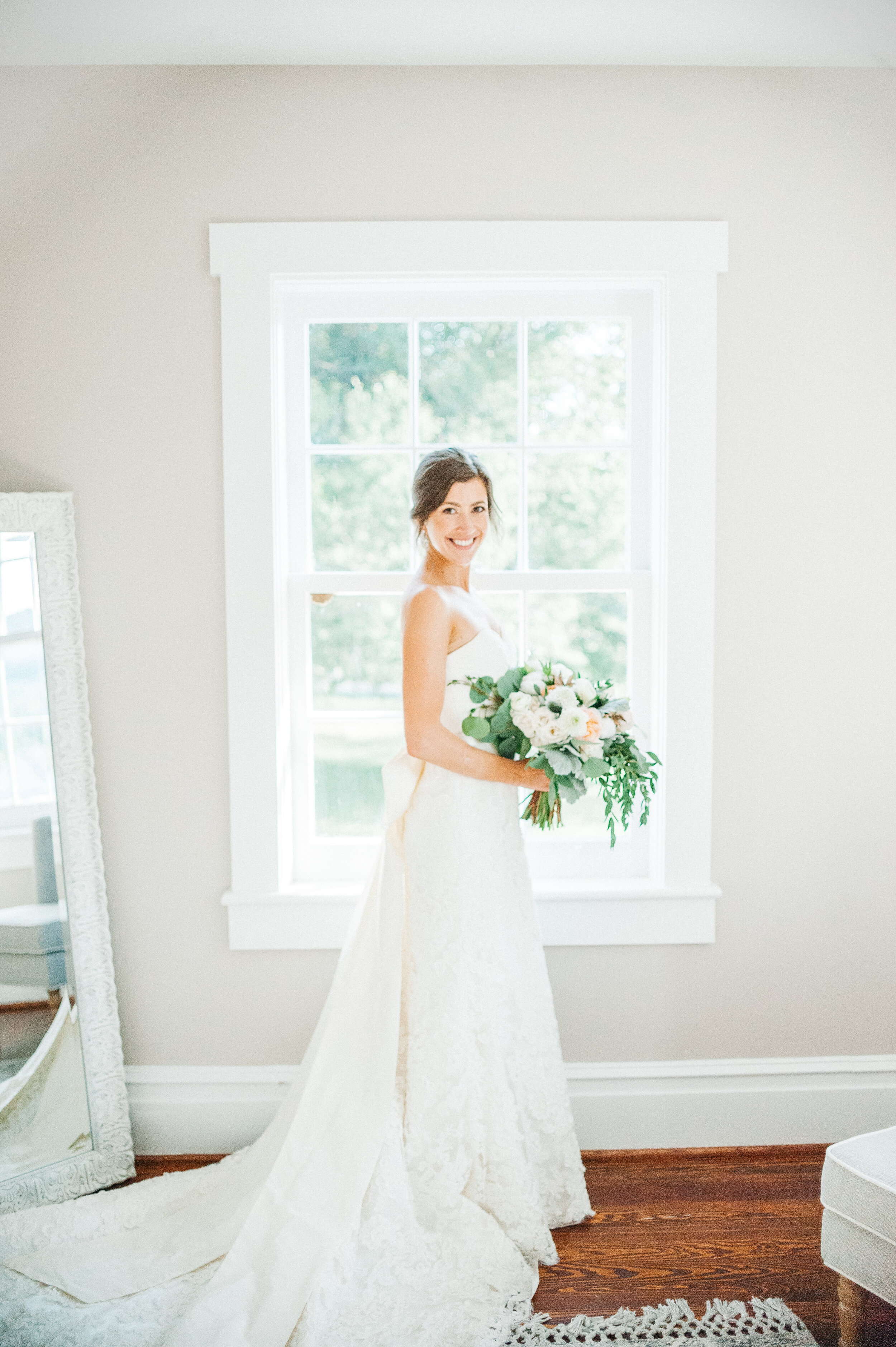 Something Blue - Stephanie was glowing on her big day!The brides maids all wore dresses in a soothing blue color scheme that we are completely in love with.