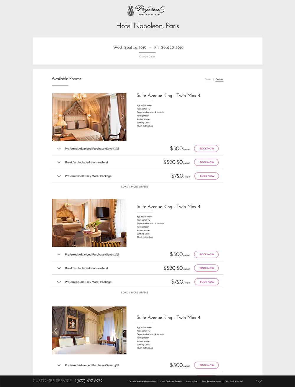 Step 2: Choose Room / Offer (rate code)