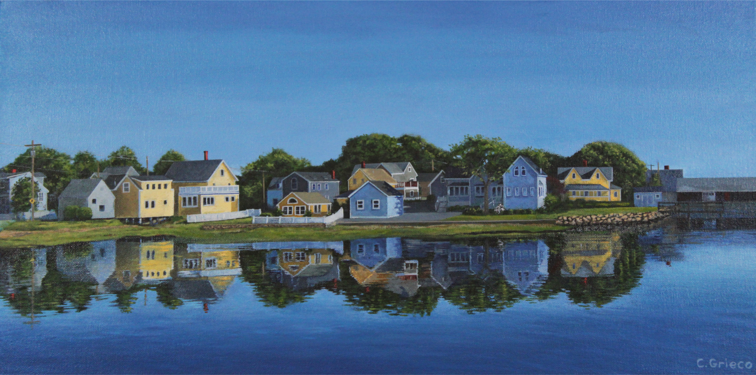 """Along Piscataqua River Portsmouth NH, 12""""x24""""  - Exhibiting at the Art Guild of the Kennebunks - Community House, 2 North St. Kennebunkport Maine - 8/30/19 to 9/1/19"""