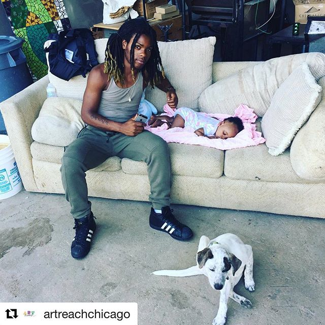 #Repost @artreachchicago with @get_repost ・・・ Want to help uncle Dantrell and puppy aunt Keba take care of baby Lyric? Consider donating your gently used exersaucer or other baby play mat for Lyric when she visits us with her dad Solo (not pictured :-) #toocute #familyaffair #community #ittakesavillage #studiobaby
