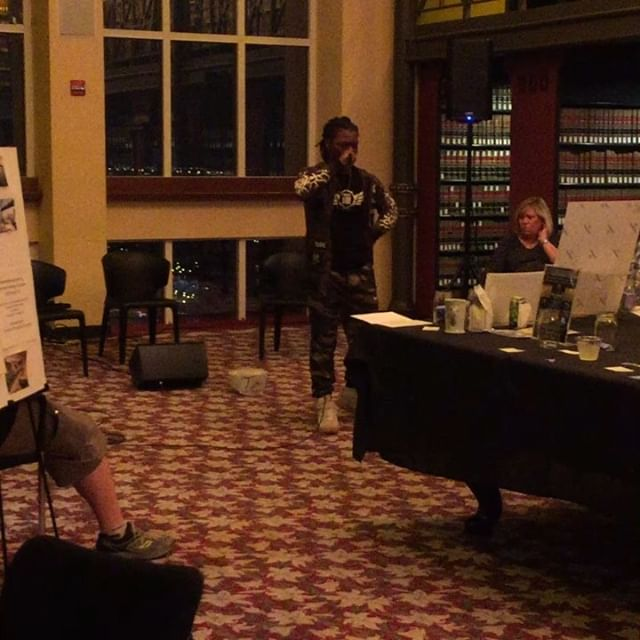 Dantrell performing at tonight's @artreachchicago fundraiser. #projectfire #endgunviolence #youthartists