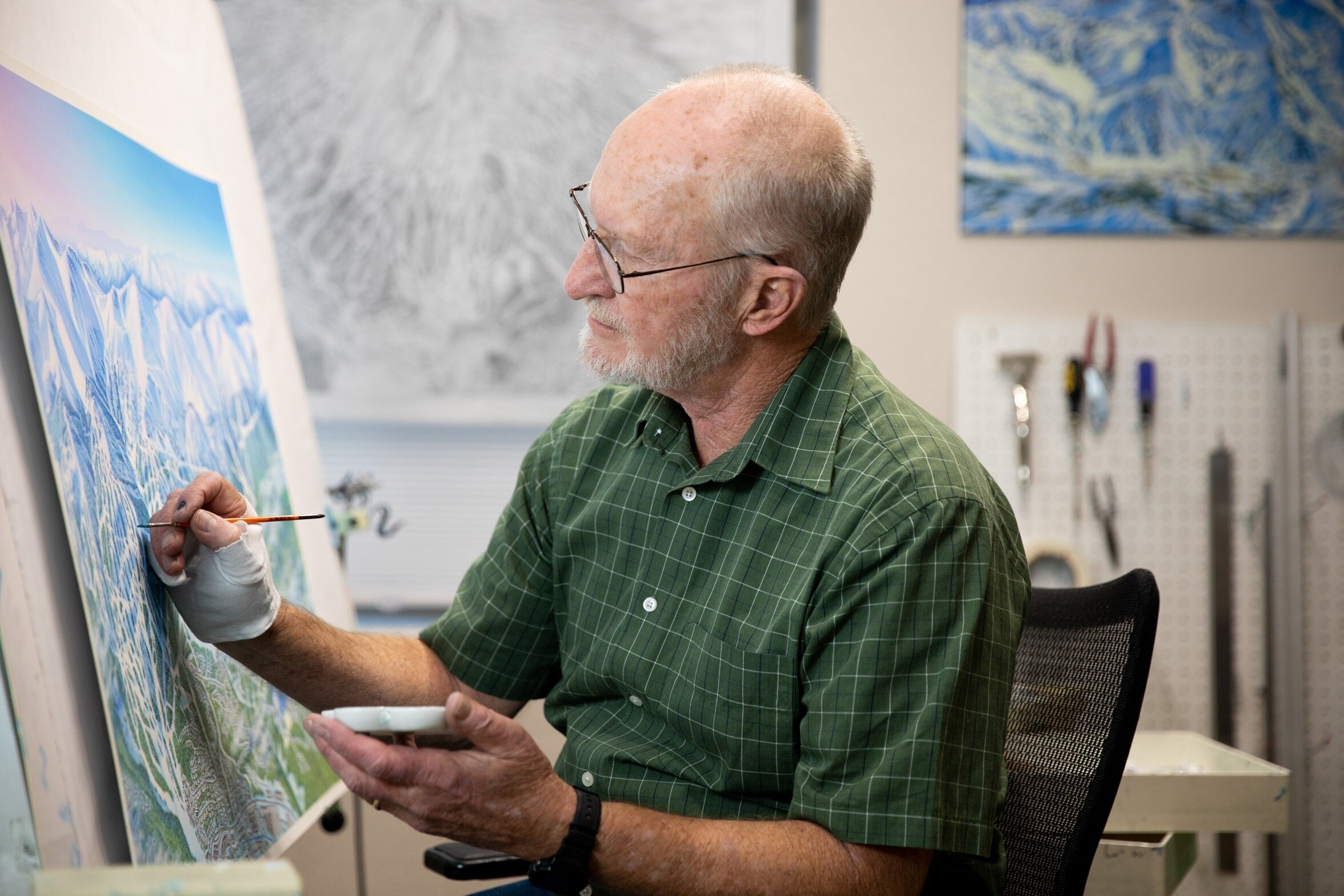 Parker, CO. - James Niehues works in his home studio in Parker, Colorado on December 17, 2018.