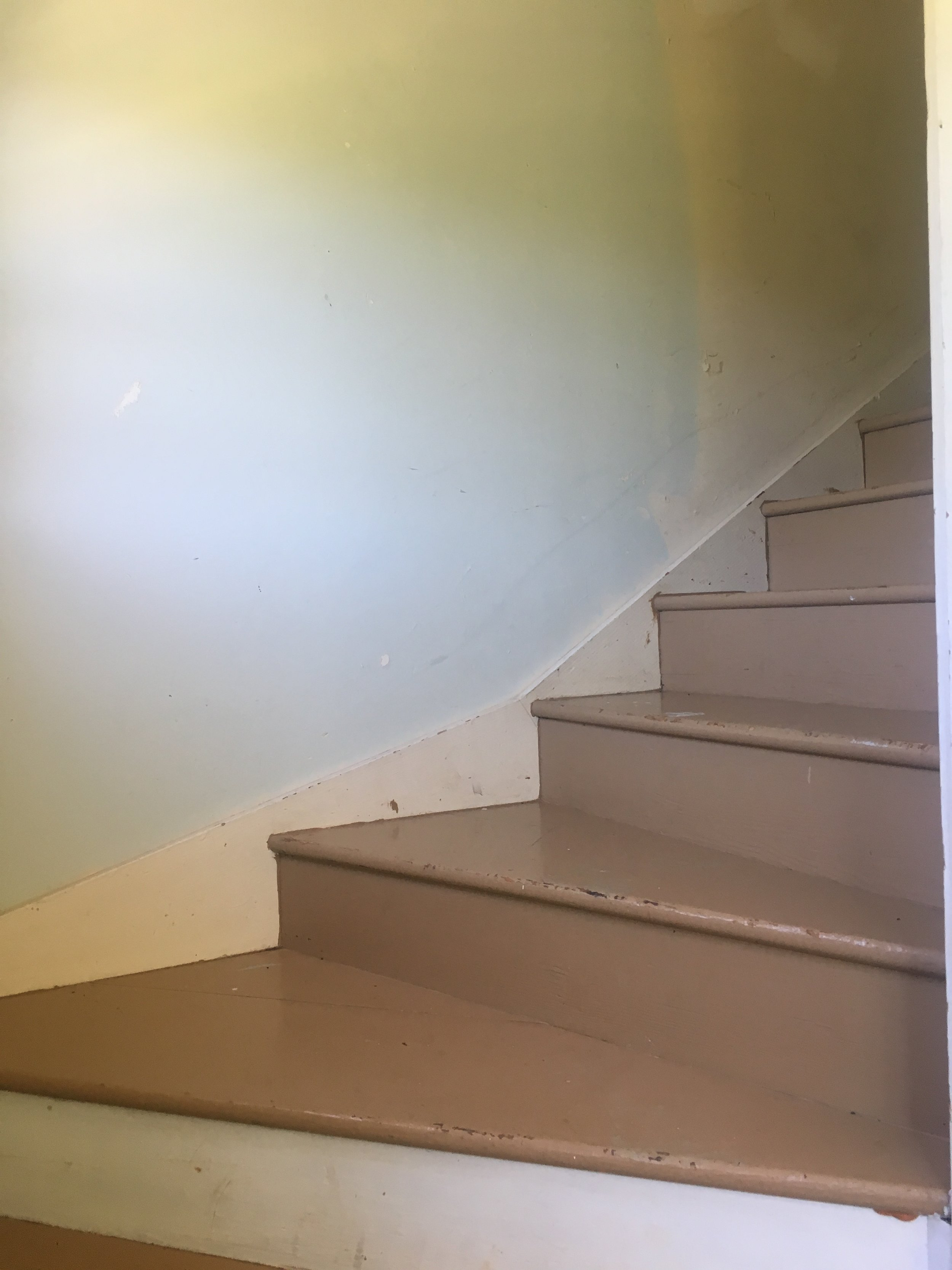 Stairs in cabin in Yorkville on 40ac, Mountain House Rd.